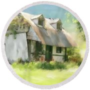 Round Beach Towel featuring the photograph The Summer Cottage by Lois Bryan