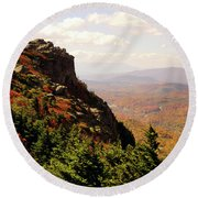 Round Beach Towel featuring the photograph The Summit In Fall by Meta Gatschenberger
