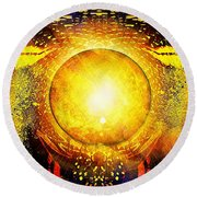 The Sun In Your Hands Round Beach Towel