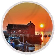 The Sun Rising By Motif Number 1 In Rockport Ma Bearskin Neck Round Beach Towel
