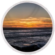 The Sun Says Goodbye Round Beach Towel