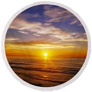 Round Beach Towel featuring the photograph The Sun Says Goodnight by Jean Haynes