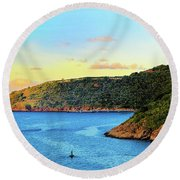 The Sun Sets On St. Thomas Round Beach Towel