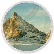 The Sun Sets Over The Matterhorn Round Beach Towel