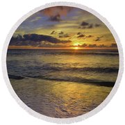 Round Beach Towel featuring the photograph The Sun Sets Softly In Molokai by Tara Turner
