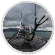 The Sun Voyager, Reykjavik, Iceland Round Beach Towel by Venetia Featherstone-Witty
