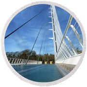 Round Beach Towel featuring the photograph The Sundial Bridge by James Eddy
