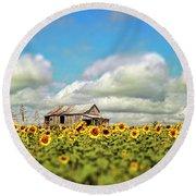 The Sunflower Farm Round Beach Towel by Darren Fisher