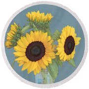 Round Beach Towel featuring the digital art The Sunflowers by I'ina Van Lawick