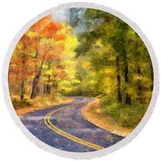 The Sunny Side Of The Street Round Beach Towel