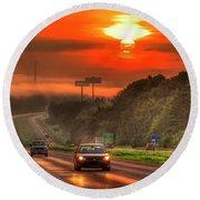 The Sunrise Commute Georgia Interstate 20 Art Round Beach Towel
