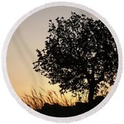 Round Beach Towel featuring the photograph Sunset On The Hill by Yoel Koskas