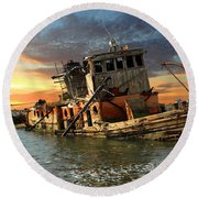 The Sunset Years Of The Mary D. Hume Round Beach Towel by James Eddy