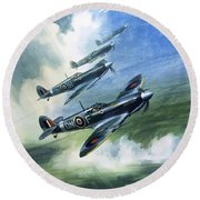 The Supermarine Spitfire Mark Ix Round Beach Towel by Wilfred Hardy