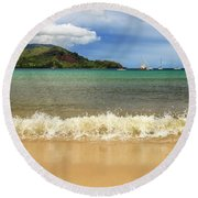 The Surf At Hanalei Bay Round Beach Towel