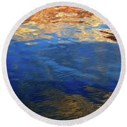 The Surface Is A Reflection  Round Beach Towel