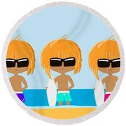 The Surfing Triplets Round Beach Towel