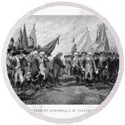 The Surrender Of Cornwallis At Yorktown Round Beach Towel