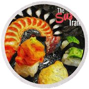 The Sushi Train Round Beach Towel by ISAW Gallery