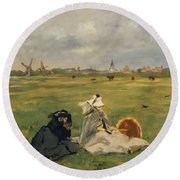 The Swallows Round Beach Towel by Edouard Manet