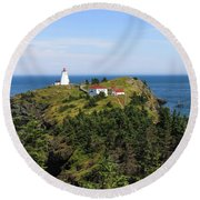 Round Beach Towel featuring the photograph The Swallowtail Lightstation by Gary Hall