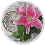 Round Beach Towel featuring the photograph The Sweetest Glow by Nancy Lee Moran