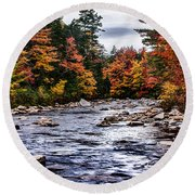 The Swiftriver Through The Fall Colors Round Beach Towel