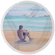 The Swimmer Round Beach Towel