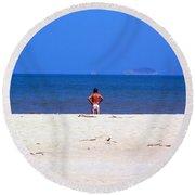 The Swimmer Round Beach Towel