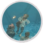 The Swimming Pool Round Beach Towel by Patricia Hofmeester