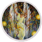 The Swinging Angel Round Beach Towel