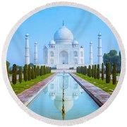 The Taj Mahal Of India Round Beach Towel