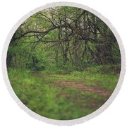 Round Beach Towel featuring the photograph The Taking Tree by Shane Holsclaw