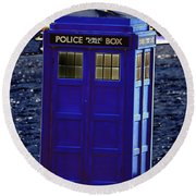 The Tardis Round Beach Towel by Steve Purnell