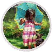 The Teal Umbrella Round Beach Towel