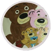 The Teddy Family  Round Beach Towel