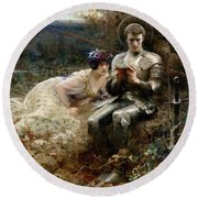The Temptation Of Sir Percival Round Beach Towel by Arthur Hacker