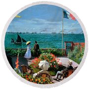 The Terrace At Sainte Adresse Round Beach Towel