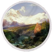 Round Beach Towel featuring the painting The Teton Range Painting By Thomas Moran                               by Thomas Moran