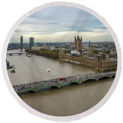 The Thames At Sunset Round Beach Towel