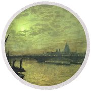The Thames By Moonlight With Southwark Bridge Round Beach Towel