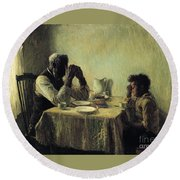 Round Beach Towel featuring the painting The Thankful Poor by Henry Ossawa Tanner
