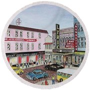 The Theater District Portsmouth Ohio 1948 Round Beach Towel