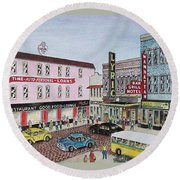 The Theater District Portsmouth Ohio 1948 Round Beach Towel by Frank Hunter