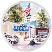 Round Beach Towel featuring the painting The Thin Blue Line by Kip DeVore