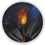 The Thing In The Cave Round Beach Towel by Chris Benice