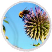 The Thistle And The Bee. Round Beach Towel