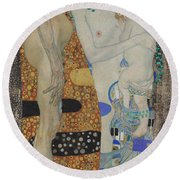 The Three Ages Of Woman-detail-2 Round Beach Towel