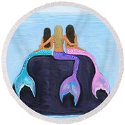 Round Beach Towel featuring the painting The Three Beauties by Leslie Allen