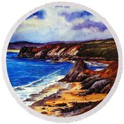 The Three Cliffs Bay Round Beach Towel